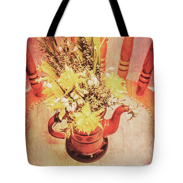 Bouquet Of Dried Flowers In Red Pot Tote Bag