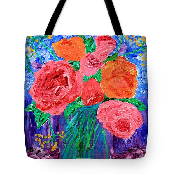 Bouquet Of English Roses In Mason Jar Painting Tote Bag