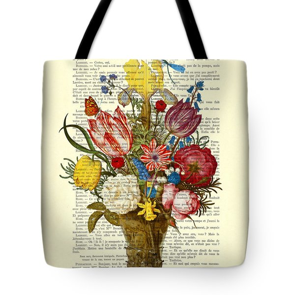 Bouquet Of Flowers On Dictionary Paper Tote Bag