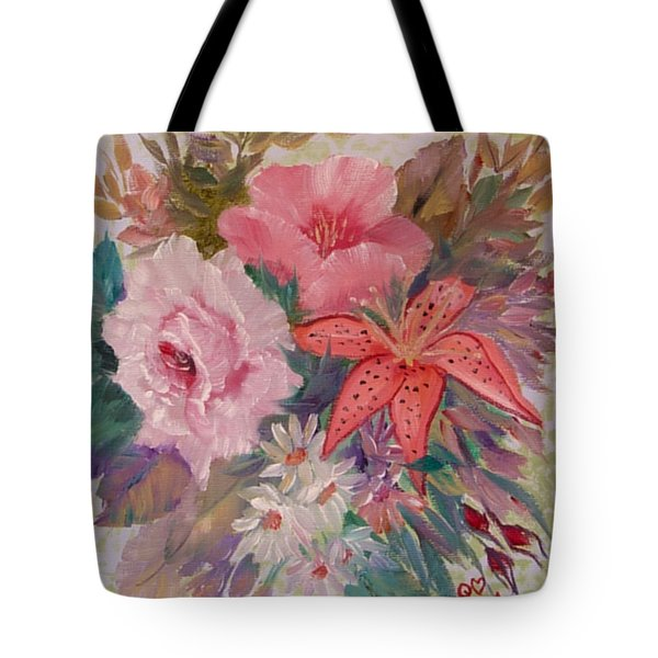 Tote Bag featuring the painting Bouquet by Quwatha Valentine