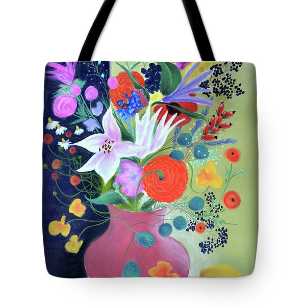 Bouquet With Dahlias And Blackberries Tote Bag by Tatjana Krizmanic
