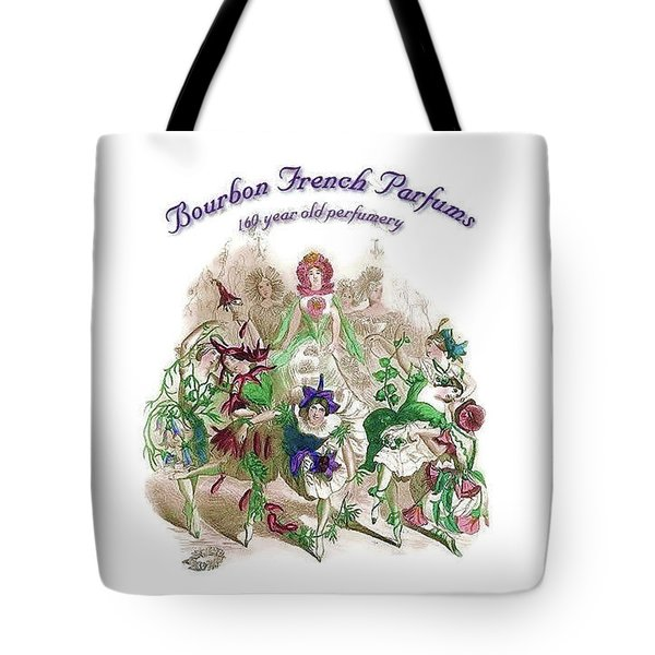 Tote Bag featuring the digital art Bourbon French Perfume by ReInVintaged