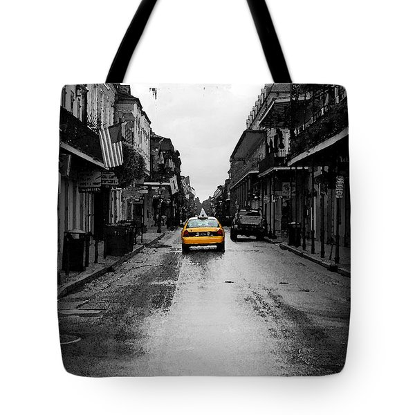 Bourbon Street Taxi French Quarter New Orleans Color Splash Black And White Watercolor Digital Art Tote Bag by Shawn O'Brien