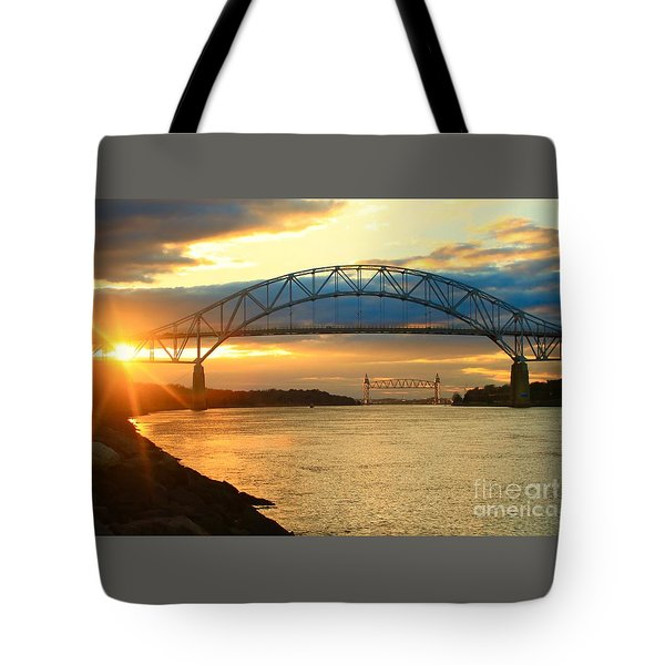 Tote Bag featuring the photograph Bourne Bridge Sunset by Amazing Jules