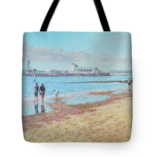 Tote Bag featuring the painting Bournemouth Pier Late Summer Morning by Martin Davey
