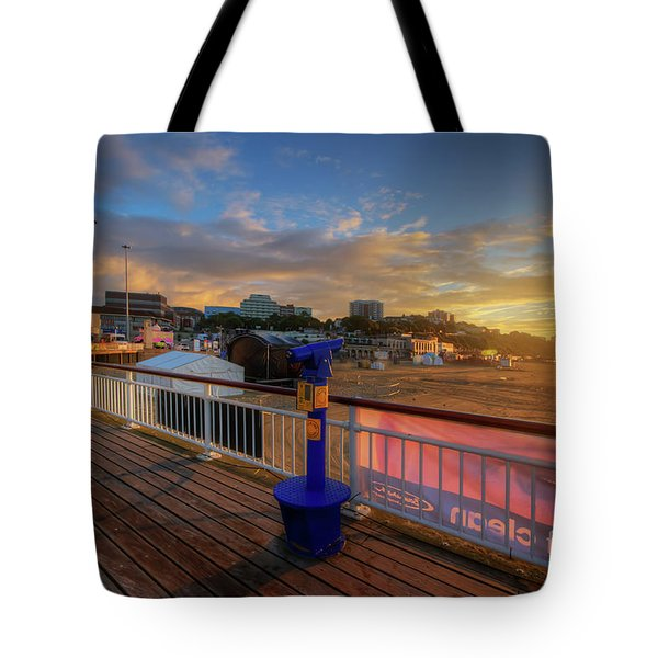 Tote Bag featuring the photograph Bournemouth Pier Sunrise by Yhun Suarez