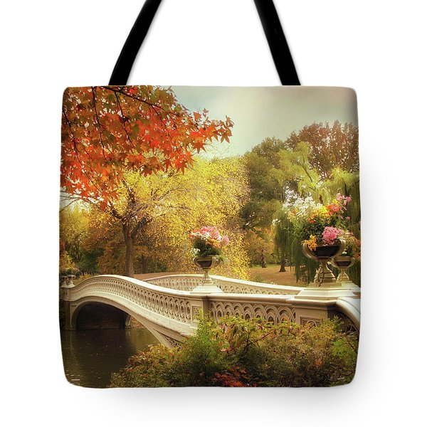 Tote Bag featuring the photograph Bow Bridge Crossing by Jessica Jenney