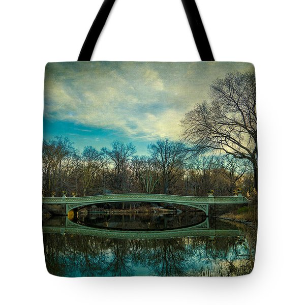 Tote Bag featuring the photograph Bow Bridge Reflection by Chris Lord