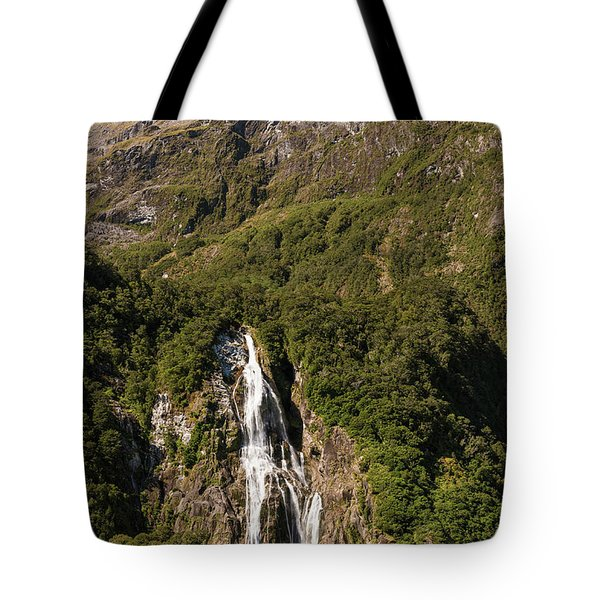 Tote Bag featuring the photograph Bowen Falls Milford Sound by Gary Eason