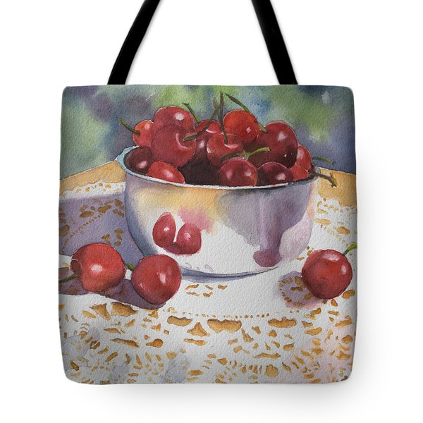 Bowl Of Cherries Tote Bag by Kathy Nesseth