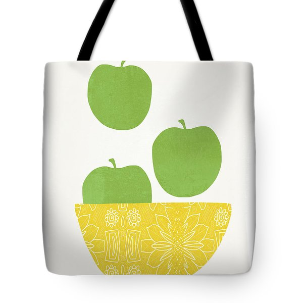 Bowl Of Green Apples- Art By Linda Woods Tote Bag