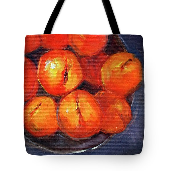 Tote Bag featuring the painting Bowl Of Peaches Still Life by Nancy Merkle