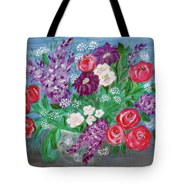 Tote Bag featuring the painting Bowl Of Poisies by Sonya Nancy Capling-Bacle