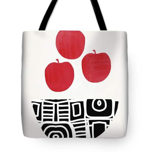 Bowl Of Red Apples- Art By Linda Woods Tote Bag