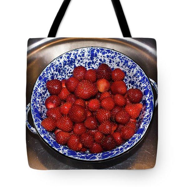 Bowl Of Strawberries 1 Tote Bag by Douglas Barnett