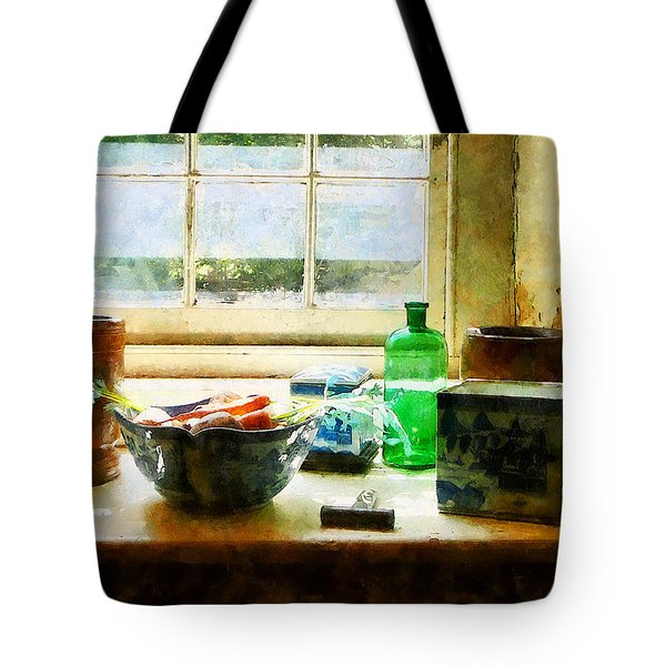 Bowl Of Vegetables And Green Bottle Tote Bag