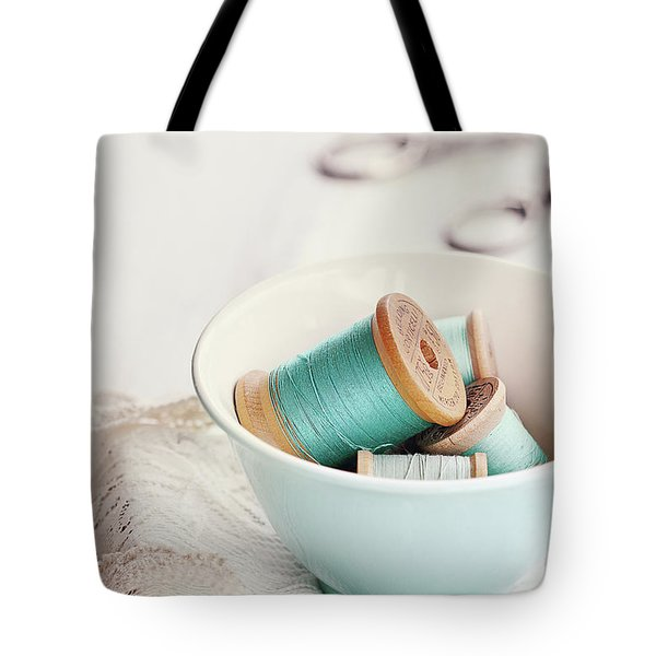 Bowl Of Vintage Spools Of Thread Tote Bag