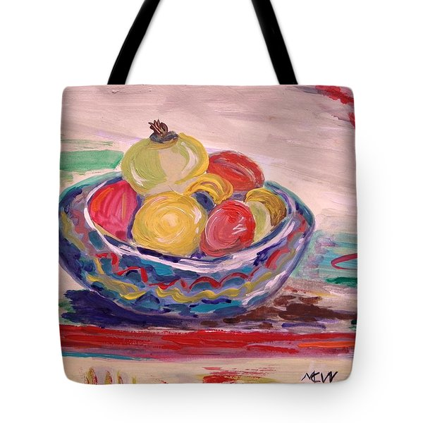 Bowl On A Red Edge Tote Bag