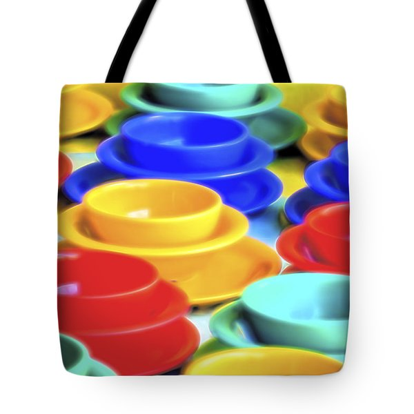 Tote Bag featuring the photograph Bowls In The Window by Tom Singleton