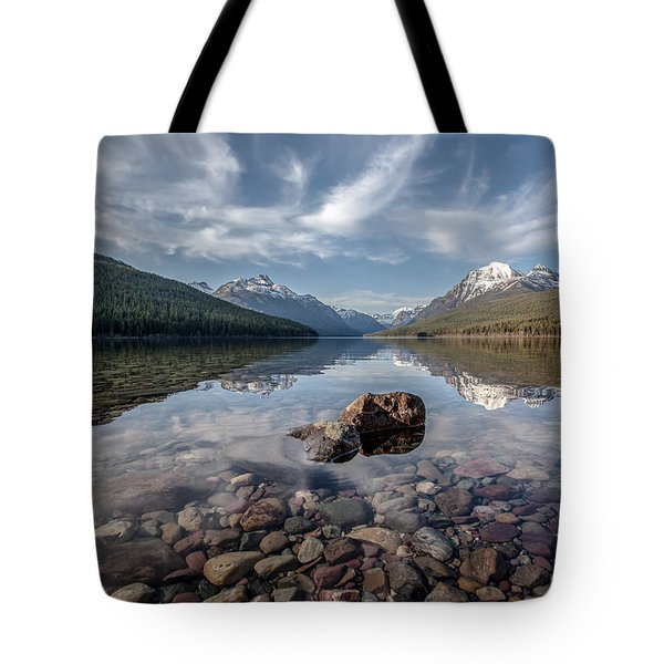 Tote Bag featuring the photograph Bowman Lake Rocks by Aaron Aldrich
