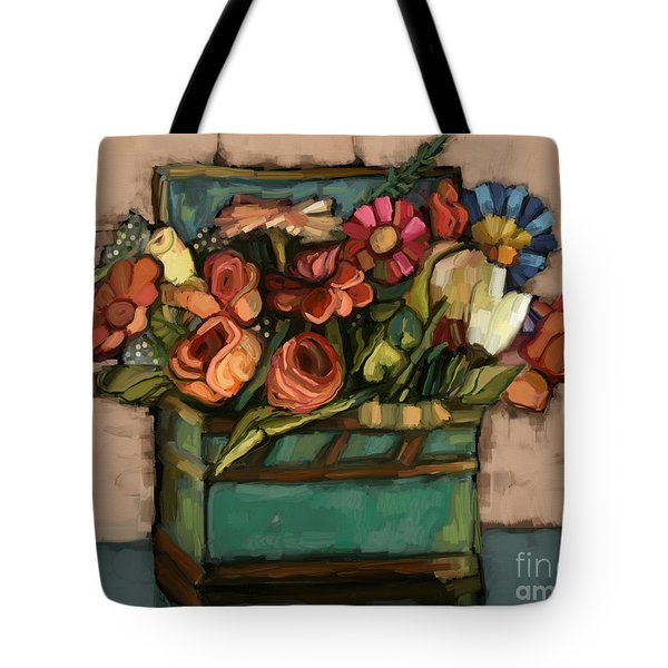 Tote Bag featuring the painting Box Of Flowers by Carrie Joy Byrnes