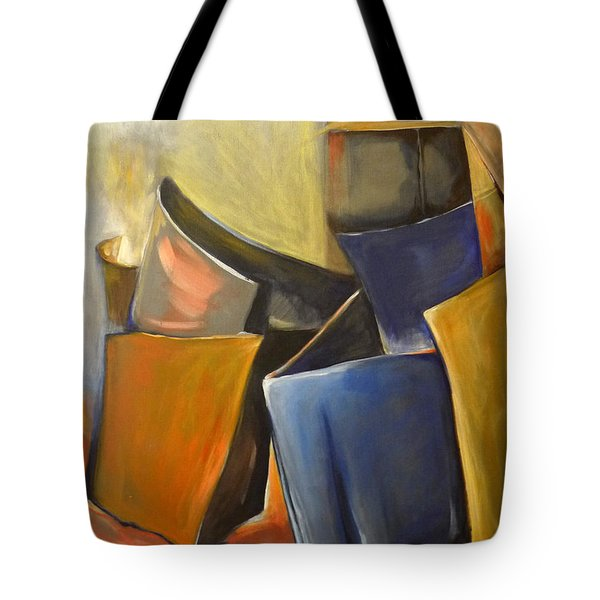 Tote Bag featuring the painting Box Scape by Nadine Dennis