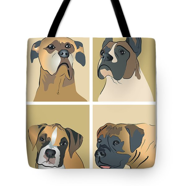 Boxer Dogs 4 Up Tote Bag by Robyn Saunders