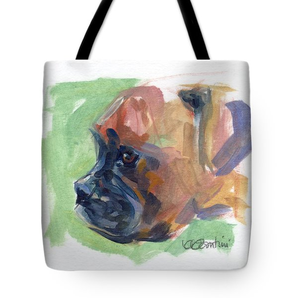 Boxer Pup Tote Bag by Kimberly Santini