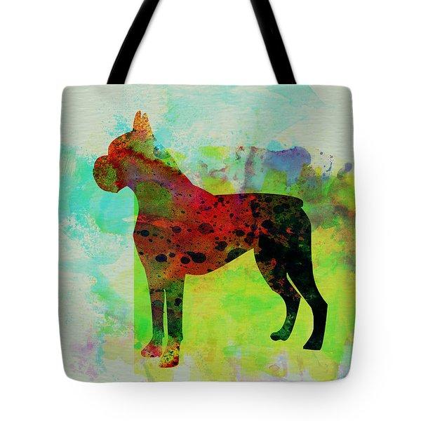 Boxer Watercolor Tote Bag by Naxart Studio