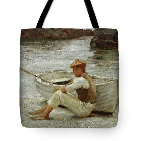 Tote Bag featuring the painting Boy And Boat  by Henry Scott Tuke