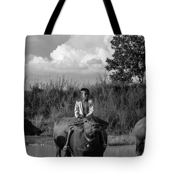 Boy And Cows Tote Bag