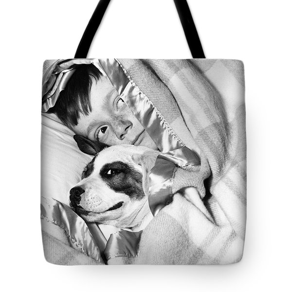 Boy And Dog Hiding Under Blanket Tote Bag