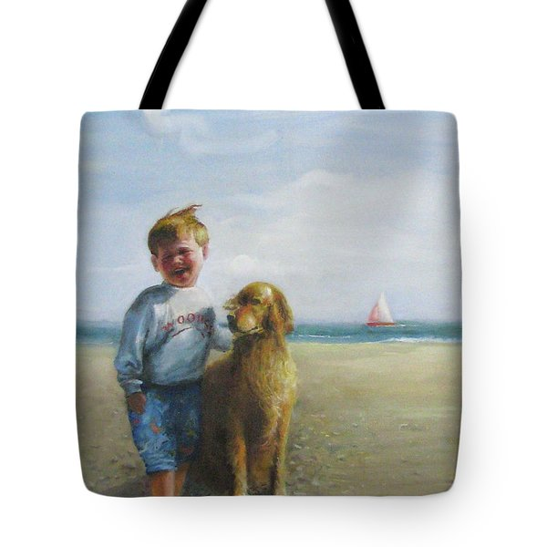Tote Bag featuring the painting Boy And His Dog At The Beach by Oz Freedgood