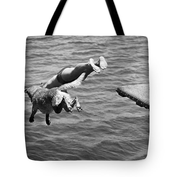 Boy And His Dog Dive Together Tote Bag