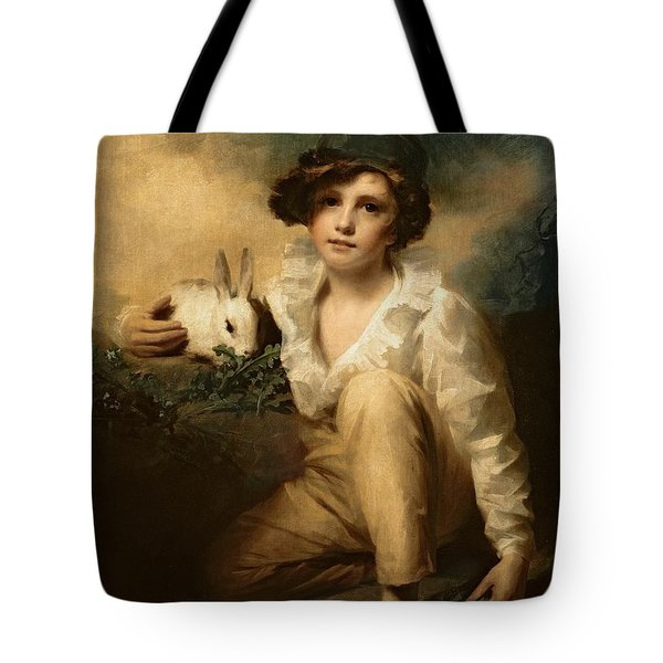 Boy And Rabbit Tote Bag