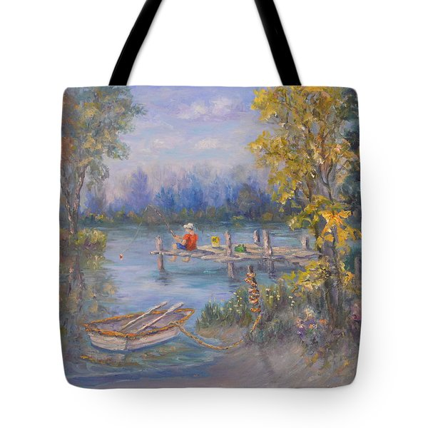 Boy Fishing On Dock And Boat On Lake Tote Bag