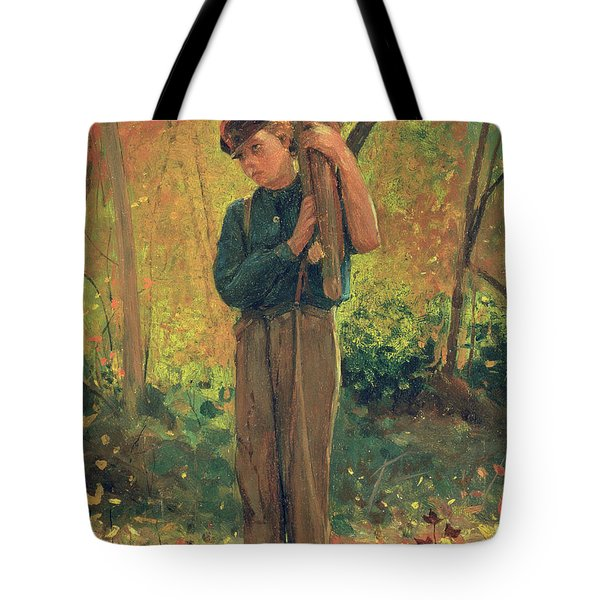 Boy Holding Logs Tote Bag by Winslow Homer