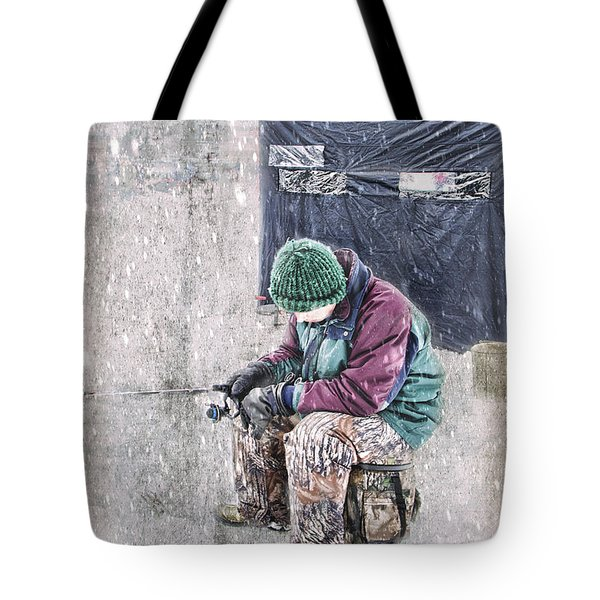 Boy Ice Fishing  Tote Bag