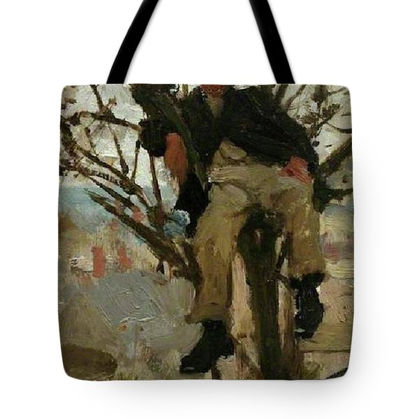 Tote Bag featuring the painting Boy In A Tree by Henry Scott Tuke