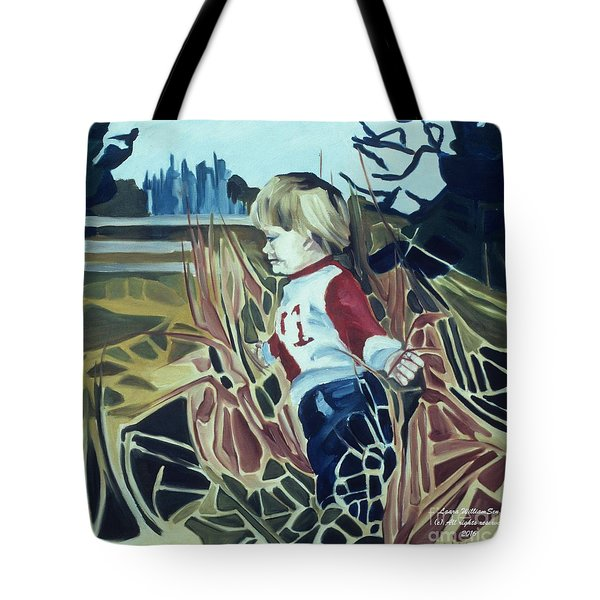 Boy In Grassy Field Tote Bag