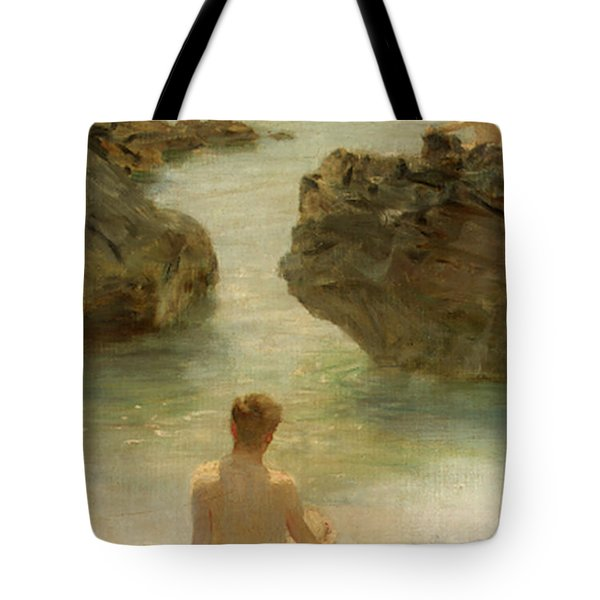 Tote Bag featuring the painting Boy On A Beach, 1901 by Henry Scott Tuke