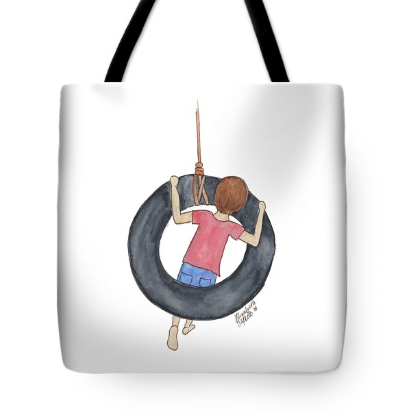 Tote Bag featuring the painting Boy On Swing 1 by Betsy Hackett