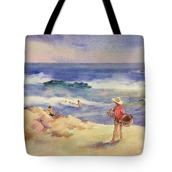 Boy On The Sand Tote Bag by Joaquin Sorolla