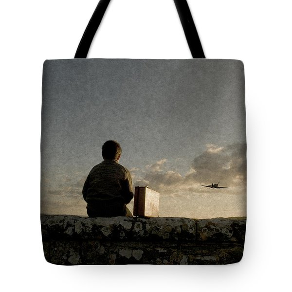 Boy On Wall Tote Bag