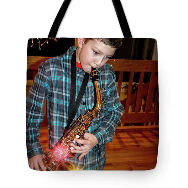 Boy Playing The Saxophone Tote Bag