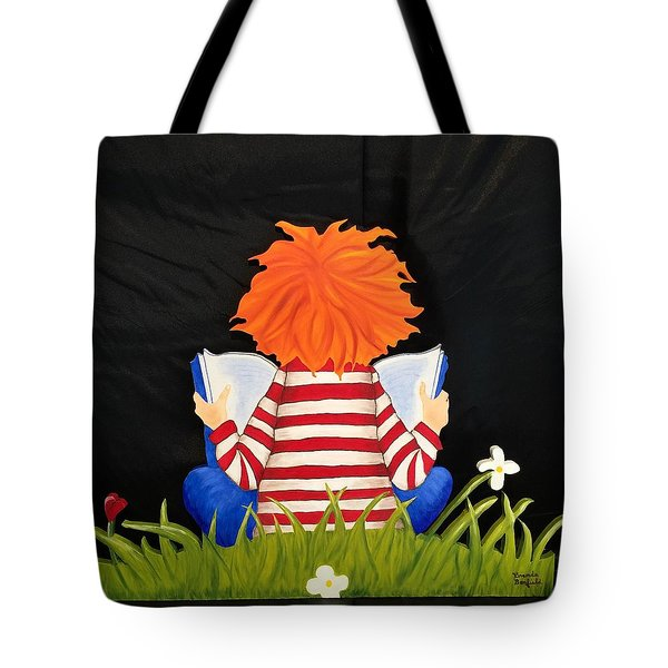 Boy Reading Book Tote Bag