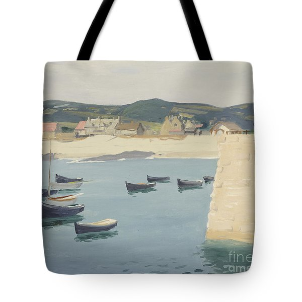 Boy Reading On A Harbour's Edge  Tote Bag by William Strang