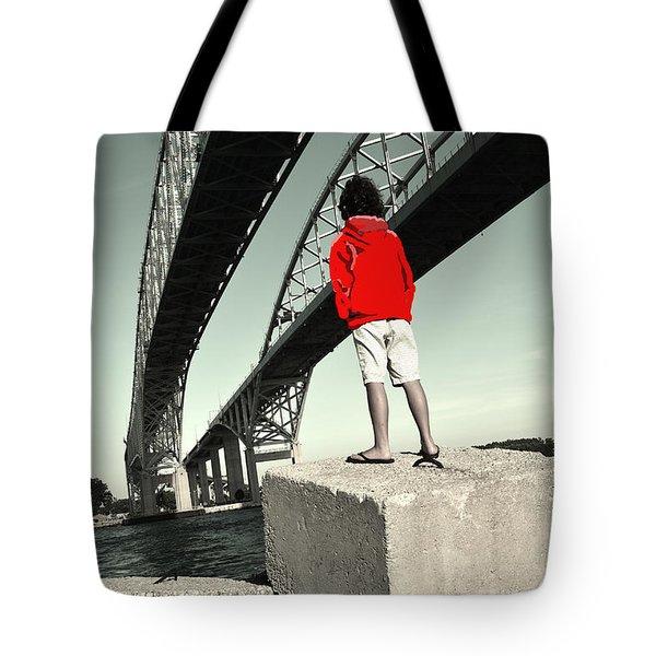 Boy Under Bridge Tote Bag