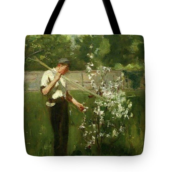 Tote Bag featuring the painting Boy With A Grass Rake by Henry Scott Tuke