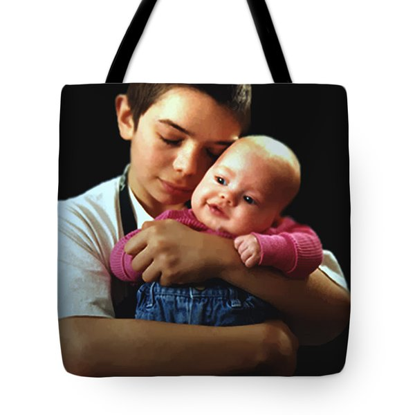 Tote Bag featuring the photograph Boy With Bald-headed Baby by RC deWinter
